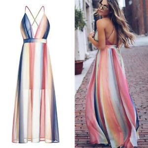 Sexy-Women-039-s-V-Neck-Dress-Boho-Casual-Summer-Maxi-Long-Evening-Beach-Sundress