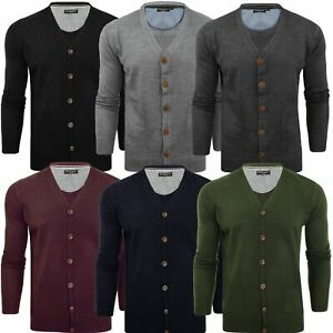 Brave-Soul-Mens-Knitted-V-Neck-Buttoned-Cardigan-Knitwear-Cotton-Warm-Top-S-XXL