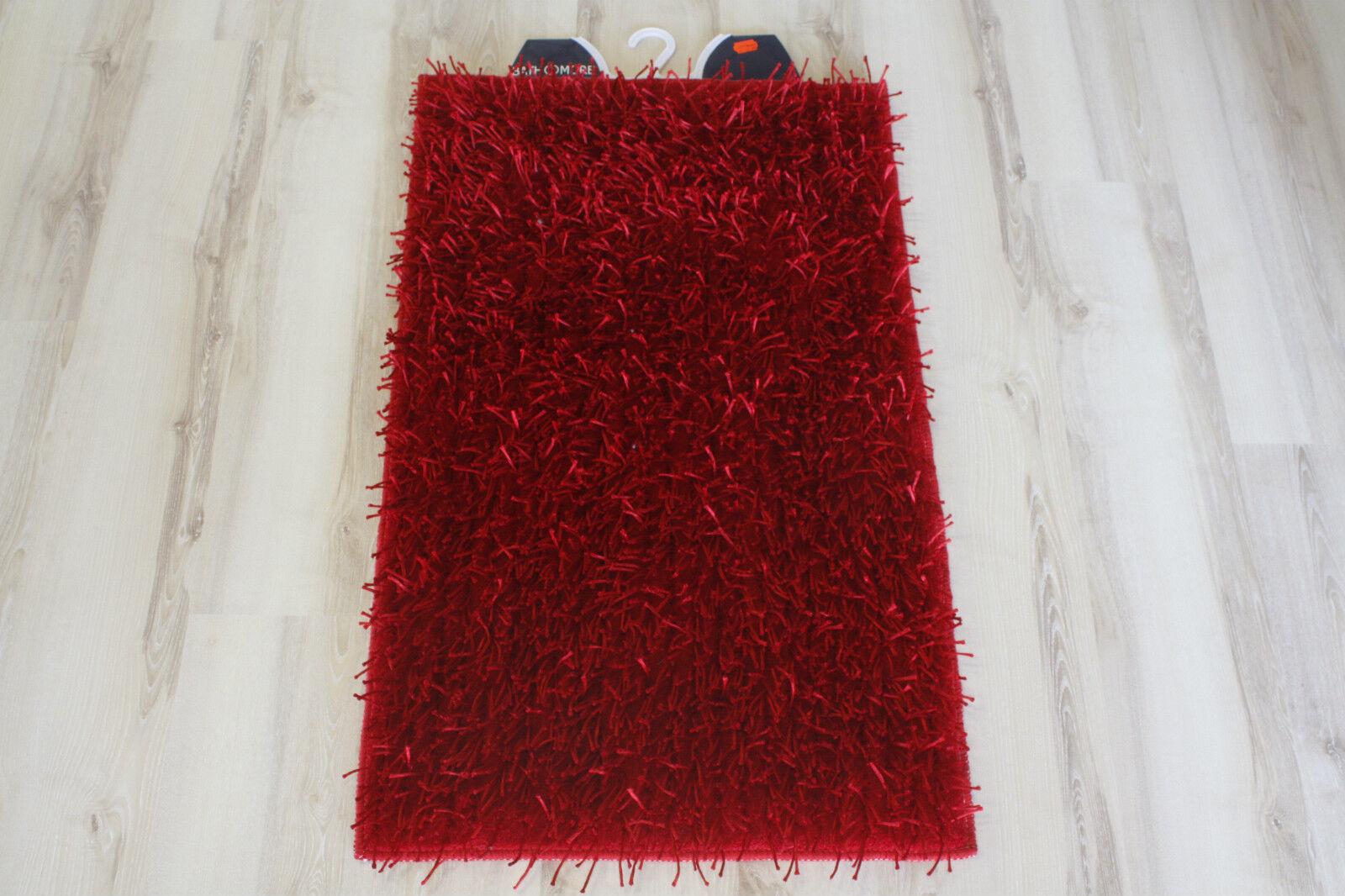 Badteppich Badematte Langflor 80x150cm Rot Mauritius
