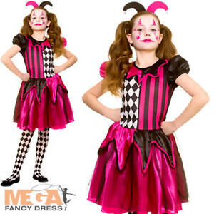 Clothing, Shoes & Accessories Freaky Jester Girls Fancy Dress Halloween Medieval Harlequin Childs Kids Costume Girls