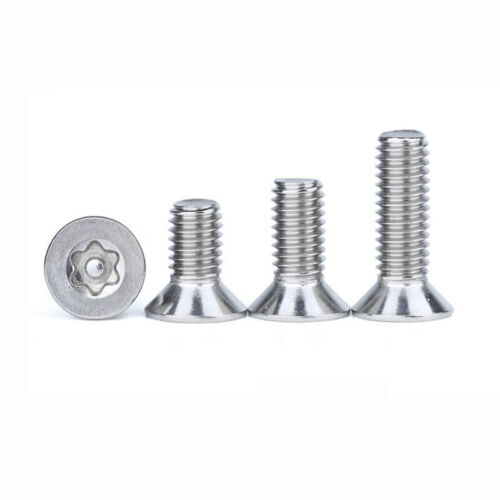 M3 M4 M5 M6 A2 304 Stainless Flat//Countersunk Head Torx Pin Security Screw Bolts