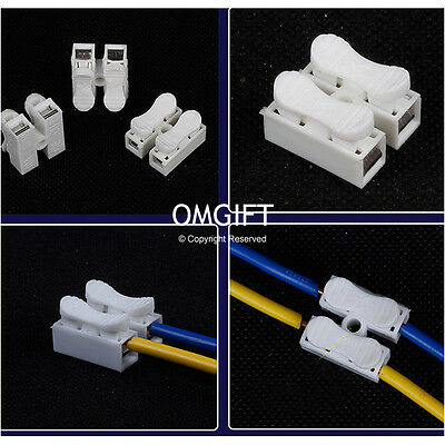 10/50pcs x 2p Spring Connector Wire No Welding No Screw For Led Strip Lamp OMG