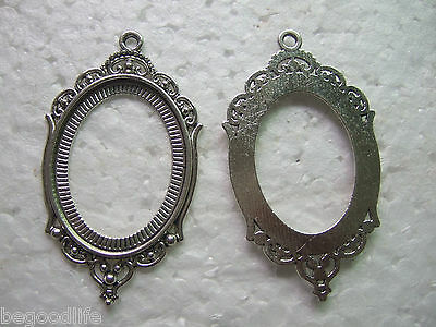 10 Antique Silver Hollow 30x40mm Oval Cameo Bezel Setting Cabochon Tray Pendant