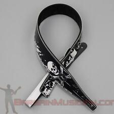 Leather Guitar / Bass Strap - With Pirate Skull & Crossbones - Adjustable Sizing