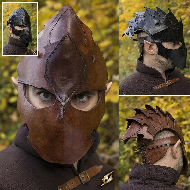 Assassins Quality Leather Helmet. Perfect for Stage Costume & LARP 2 Colours