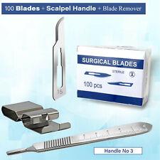 100pcs Sterile Blades 15 Blade Remover 3 Scalpel Handle Medical Craft Lab