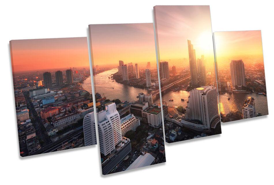Bangkok Cityscape puesta de de puesta sol Lona Pared Arte Cuadro Enmarcado de múltiples 3056c5