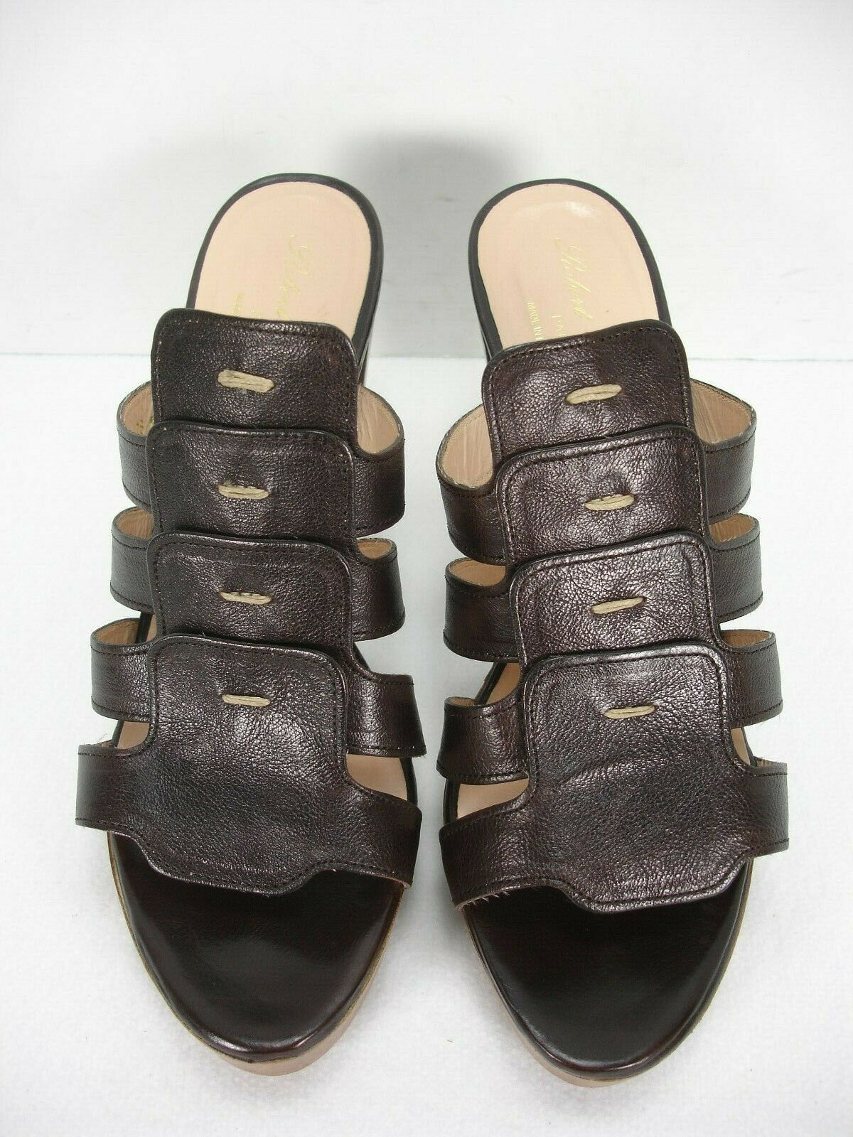 ROBERT CLERGERIE BROWN LEATHER LEATHER LEATHER OPEN TOE SLIDES SANDALS HEELS WOMEN'S 9.5 B 8d42ee