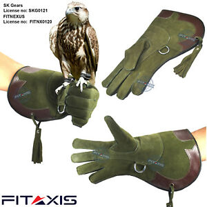 Falconry-and-Eagle-Nubuck-Leather-Green-Gloves-16-Long-Cuff
