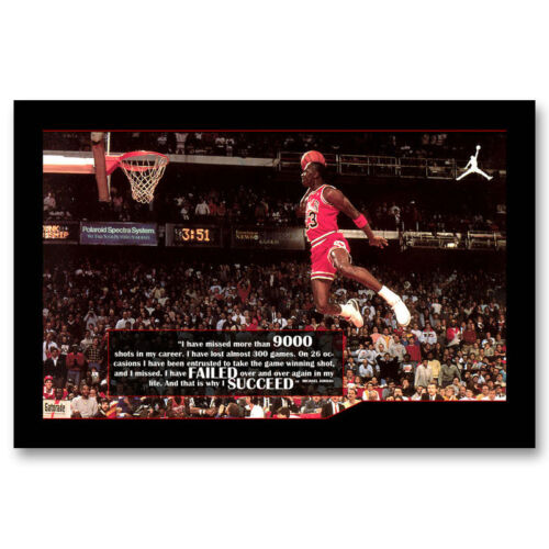 Michael Jordan MJ 23 Motivational Art Canvas Poster Prints 8x12 24x36inch