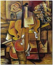 """1912 Violon et raisin - Hand Painted Pablo Picasso Oil Painting On Canvas 20x24"""""""