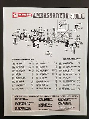 """Fishing Reel Garcia Mitchell /""""8x10 Copy/""""  Schematic for # 304-305"""