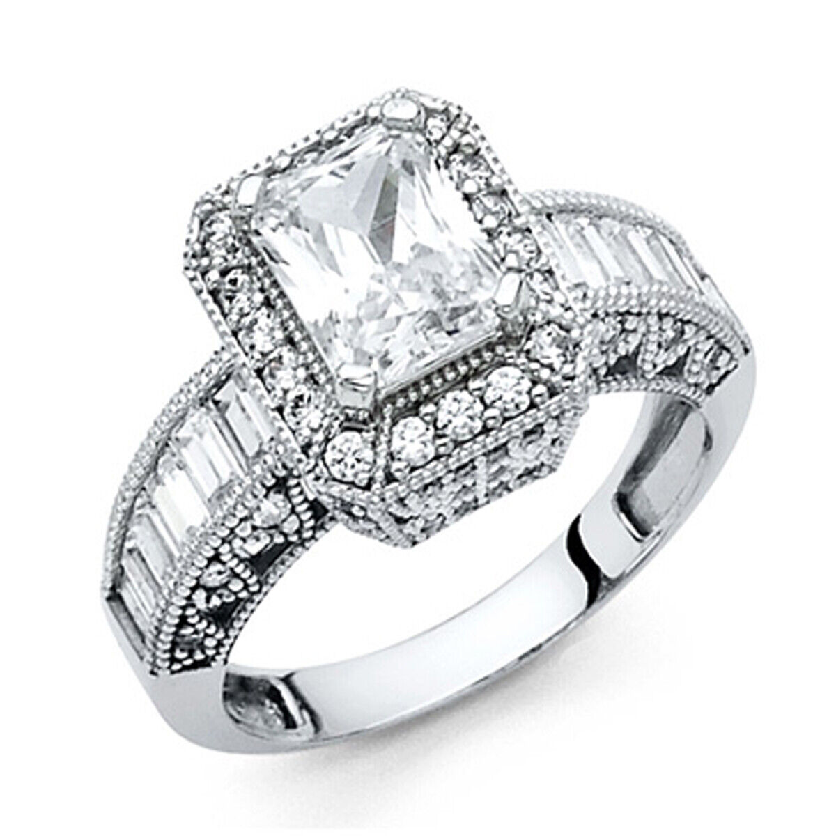 Art Deco 1.5-CT Halo Radiant-Cut with Side Stones Wedding Ring in 14K White gold