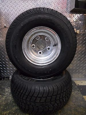 2-Pack Trailer Tires On Galvanized Rims 18.5-8.5-8 215//60-8 Load C 5 Lug