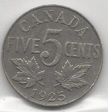 CANADA,  1925,  5 CENTS,  NICKEL,  KM#29,  VERY FINE  ( SCARCE DATE )