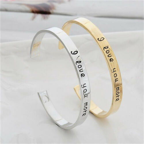 I Love You More Letter Adjustable Cuff Bangles Heart Couples Opening Bracelet J/&