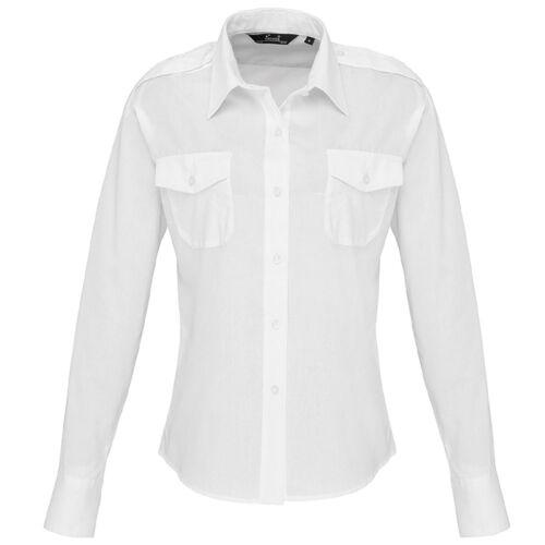 Premier Ladies Long Sleeve Work Wear Pilot Shirt Security Uniform Office Women