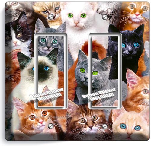 CUTE BLACK KITTIE CATS BLUE GREEN EYES 2 GFCI LIGHT SWITCH WALL PLATE ROOM DECOR