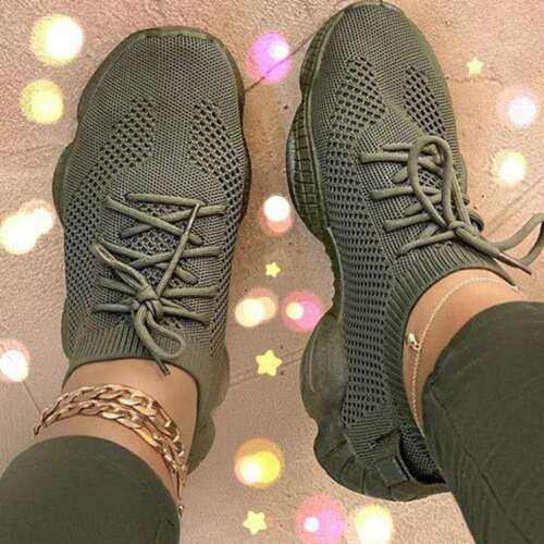 WOMENS LADIES SNEAKERS LACE UP CHUNKY MESH TRAINERS RUNNING WALKING CASUAL SHOES