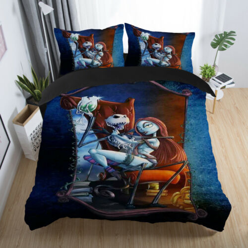 Disney Nightmare Before Christmas Jack Sally Quilt Cover Bedding Set Pillow Case
