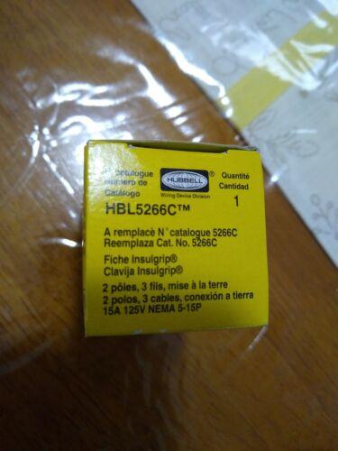 5-15P Hubbell HBL5266C Plug Black//White 15 amp 125V