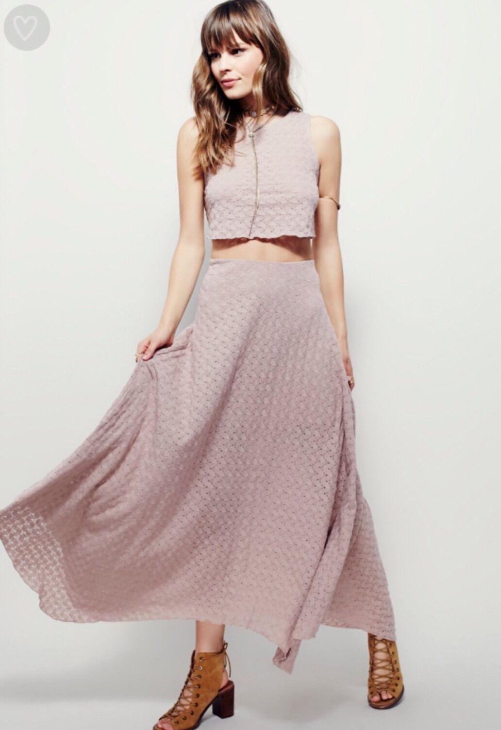 NEW Free People Beach Caroline Eyelet Maxi Skirt Size XS pink Taupe