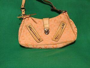 a846cc1285c Image is loading Guess-Canvas-Orange-Beige-Trim-logo-Purse-Handbag-