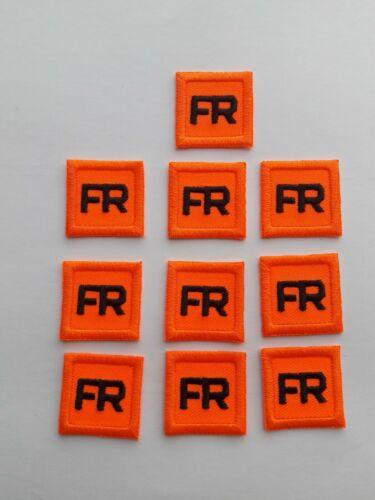 10  Orange Replacement FR Patches Iron On Fire Retardant Pants Shirt Jacket Tag
