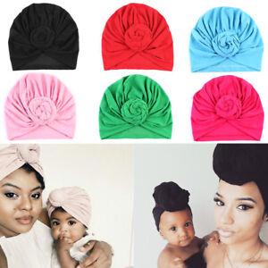 Mom Mother Baby Turban Knot Pom Bobble Hat Kids Girl Boys Winter ... 91d6670054b