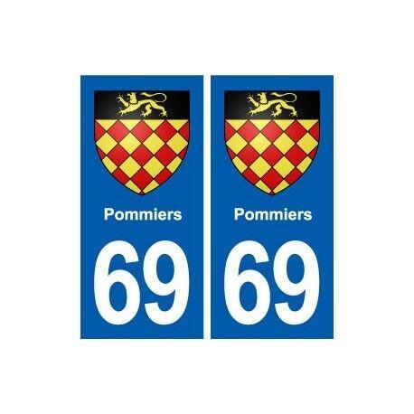 69 Pommiers blason autocollant plaque stickers ville droits
