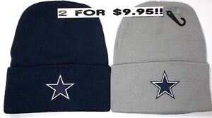 READ-LISTING-Dallas-Cowboys-HEAT-Applied-Flat-Logos-on-2-Beanie-Knit-Cap-hat