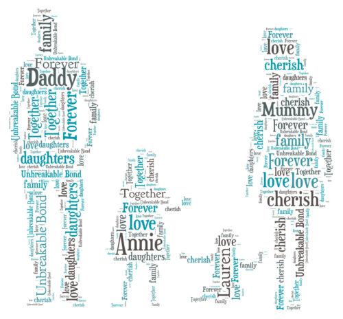 Daddy /& Children Personalised Word Art print Family Mummy