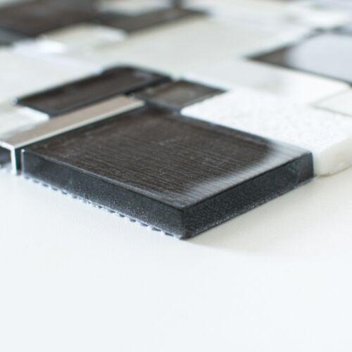 Alu mix Mosaik Avant weiß grau XCM FK02 Matte 300x300x6mm Glas Stein