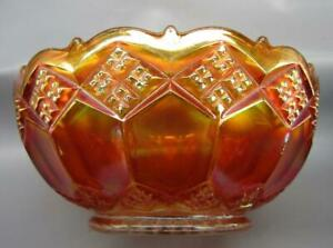 Imperial-THREE-IN-ONE-Glowing-Marigold-Carnival-Glass-7-034-Bowl-7360