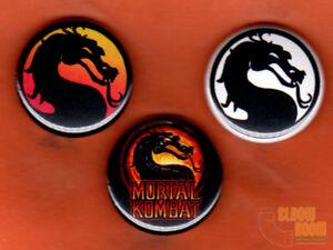Set Of Three 1 Mortal Kombat Logo Pins Buttons Ebay