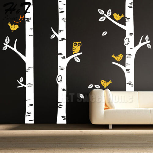 Large Birch Tree Birds Owl Forest Vinyl Wall Decal Sticker Kids Nursery Decor