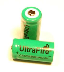 Ultrafire-Rechargeable-Li-Ion-CR123A-16340-3-0V-800mAh-Battery-TWO-BATTERIES