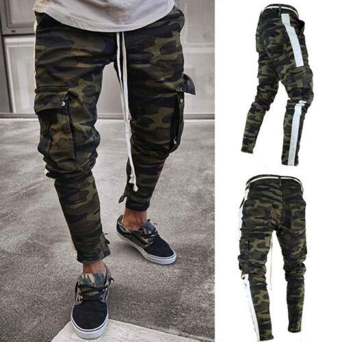 Men Slim Stretch Denim Pants Pleated Ripped Freyed Slim Fit Biker Jeans Trouses