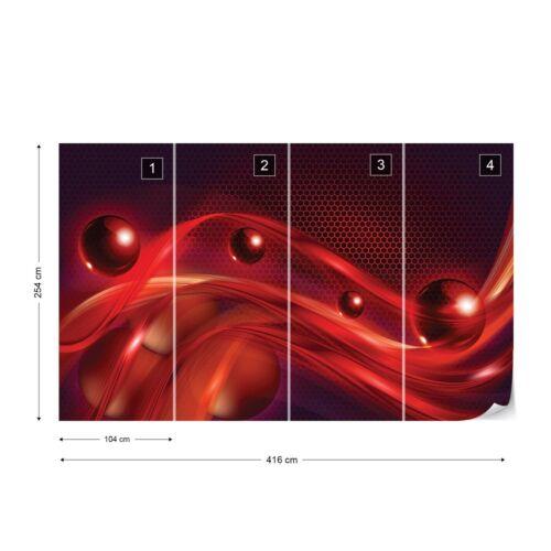 Red Modern Abstract Design Photo Wallpaper Wall Mural Fleece Easy-Install Paper