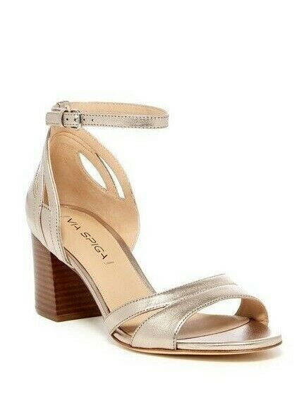 Via Spiga Christa Leather Block Heel Strappy Sandal Size 8 gold, MSRP  195