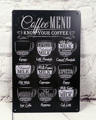 Coffee MENU Poster Tin Signs Metal Plaque Home Pub Bar Cafe Wall Decor