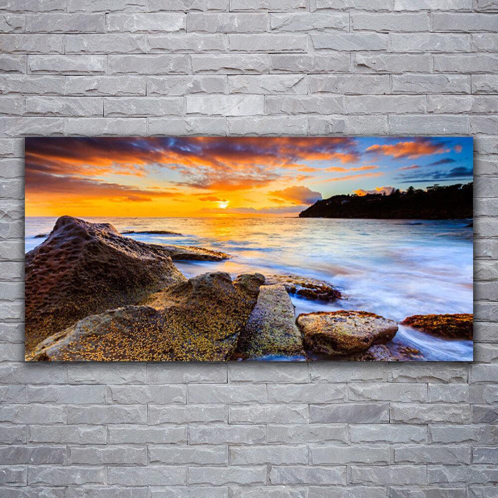 Photo sur toile Tableau Image Impression 120x60 Paysage Pierres Mer Soleil
