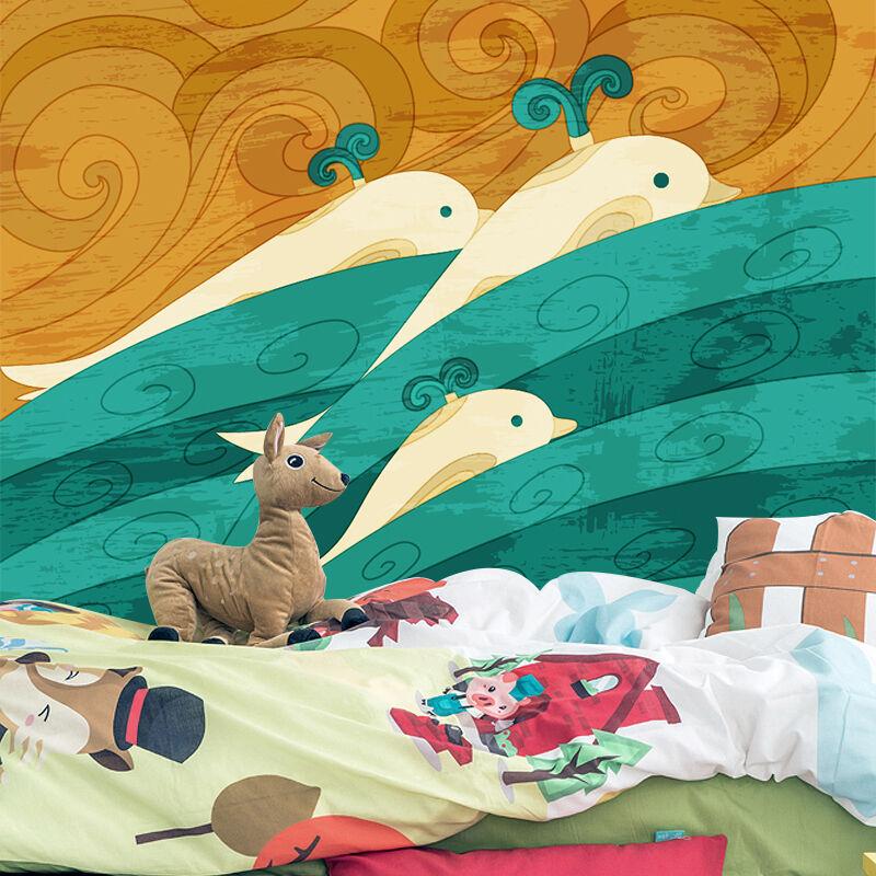 3D Großer Delphin 09 Fototapeten Wandbild Fototapete Bild Tapete Familie Kinder