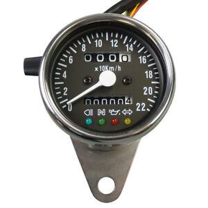 Chrom-Mini-Tachometer-mit-Kontrolleuchten-Speedometer-fuer-Japan-und-USA-Motorrad