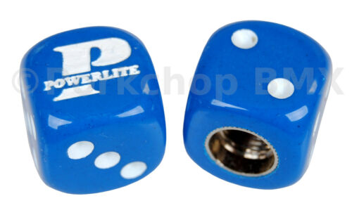 Powerlite old school BMX bicycle tire Schrader valve DICE caps BLUE PAIR