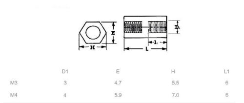 M3 Female-Female Brass Copper Hex Cylinder Pillars Hexagonal Hollow Spacer 3MM F