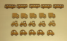 20 x WOODEN CAR, VAN, BUS, TRACTOR SHAPES, CRAFT BLANKS, MODEL 3mm MDF