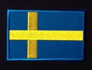 SWEDEN-SWEDISH-CROSS-COUNTRY-FLAG-BADGE-IRON-SEW-ON-PATCH-EUROPE