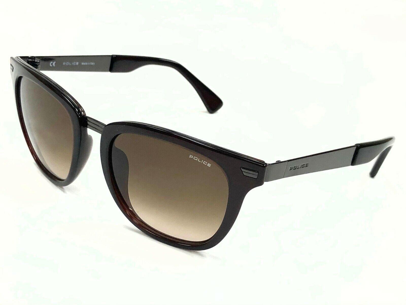 Authentic POLICE CUBE 2 S8749 0Z90 Brown Ruthenium/Brown Lens 52mm Sunglasses
