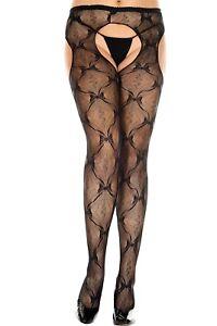 Black-Lace-Suspender-Tights-Plus-Size-XL-Bow-Lace